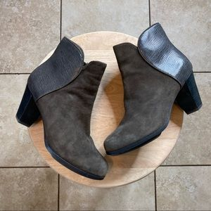 Eileen Fisher Gray leather ankle booties